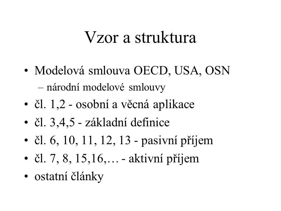 Vzor a struktura Modelová smlouva OECD, USA, OSN