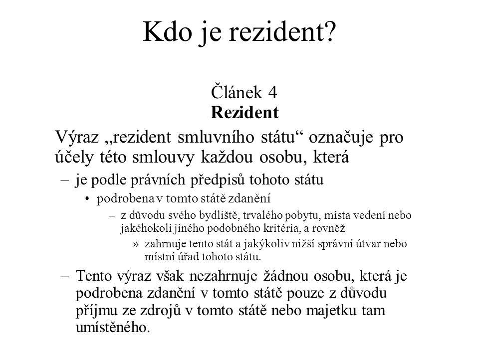 Kdo je rezident Článek 4 Rezident