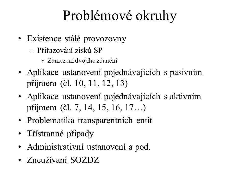 Problémové okruhy Existence stálé provozovny