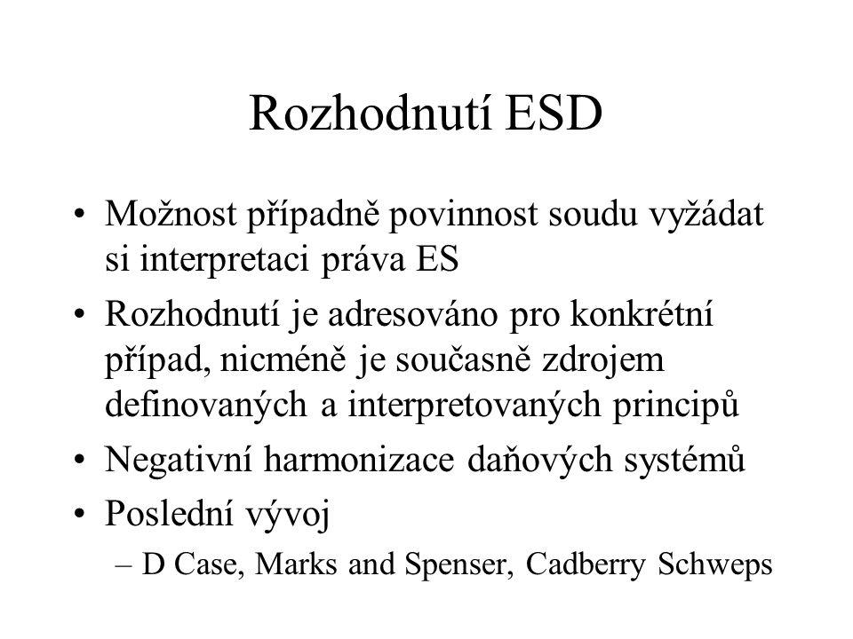 Rozhodnutí ESD Možnost případně povinnost soudu vyžádat si interpretaci práva ES.