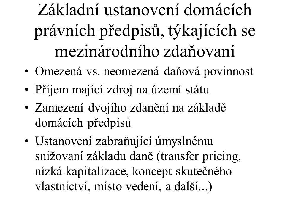 Základní ustanovení domácích právních předpisů, týkajících se mezinárodního zdaňovaní