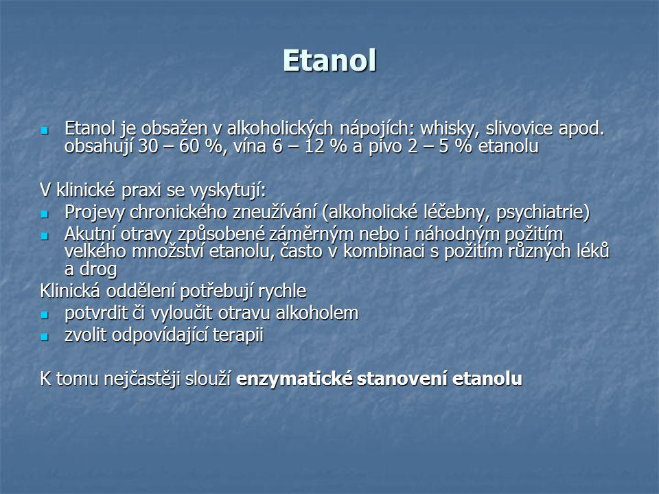 Etanol Etanol je obsažen v alkoholických nápojích: whisky, slivovice apod. obsahují 30 – 60 %, vína 6 – 12 % a pivo 2 – 5 % etanolu.