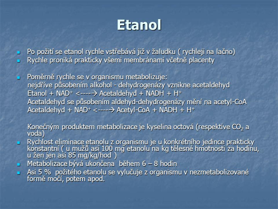 Etanol Po požití se etanol rychle vstřebává již v žaludku ( rychleji na lačno) Rychle proniká prakticky všemi membránami včetně placenty.