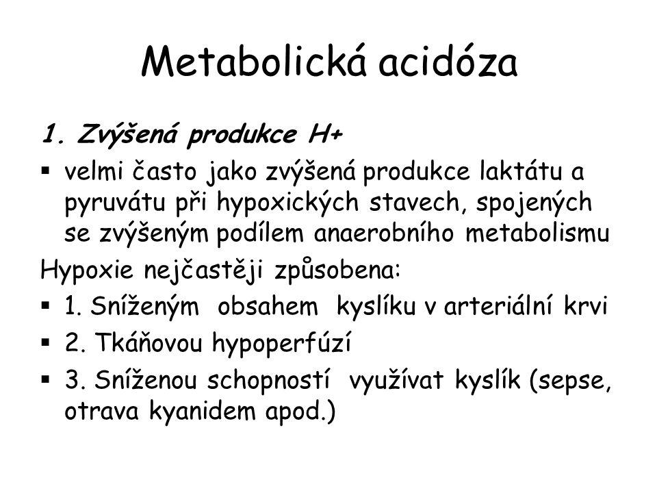 Metabolická acidóza 1. Zvýšená produkce H+