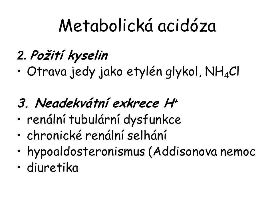Metabolická acidóza 2. Požití kyselin