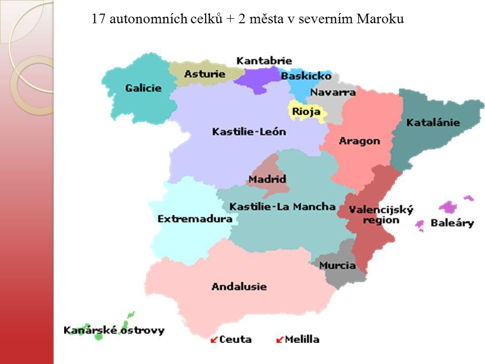 17 autonomních celků + 2 města v severním Maroku