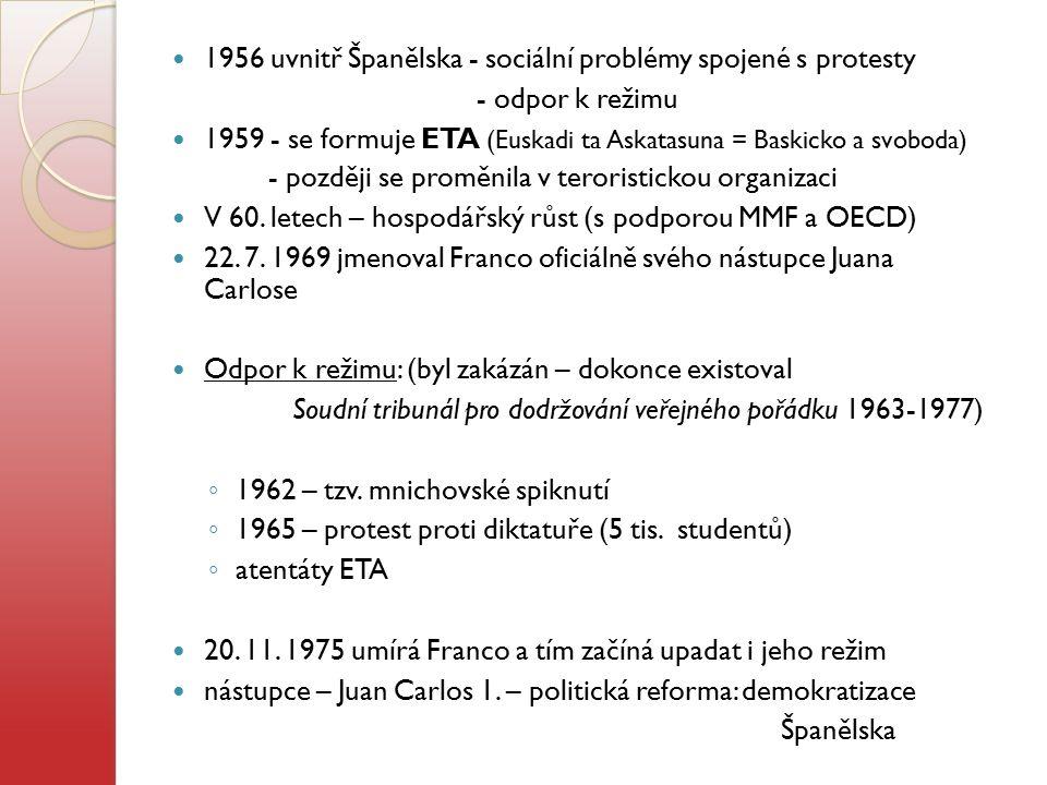 1956 uvnitř Španělska - sociální problémy spojené s protesty