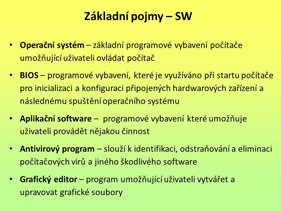 Základní pojmy – SW Operační systém – základní programové vybavení počítače umožňující uživateli ovládat počítač.