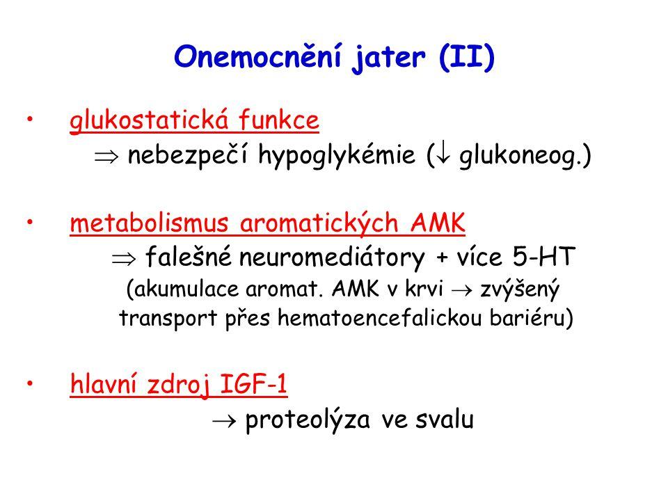 Onemocnění jater (II) glukostatická funkce