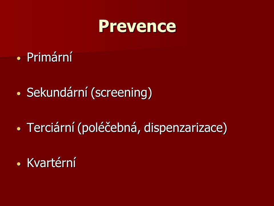 Prevence Primární Sekundární (screening)