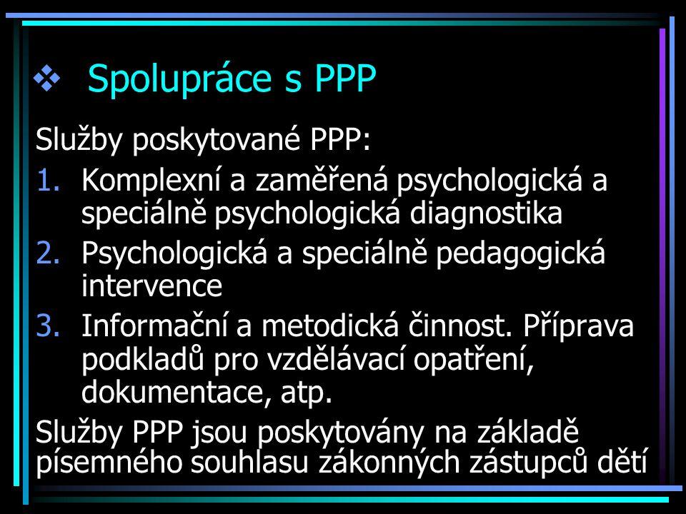 Spolupráce s PPP Služby poskytované PPP: