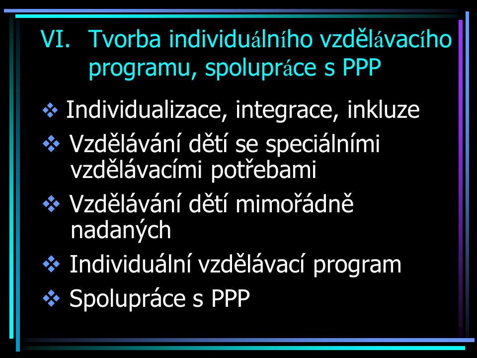 Tvorba individuálního vzdělávacího programu, spolupráce s PPP
