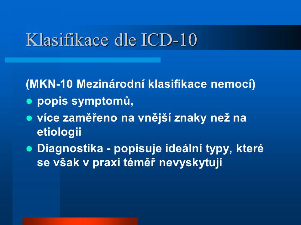 Klasifikace dle ICD-10 (MKN-10 Mezinárodní klasifikace nemocí)