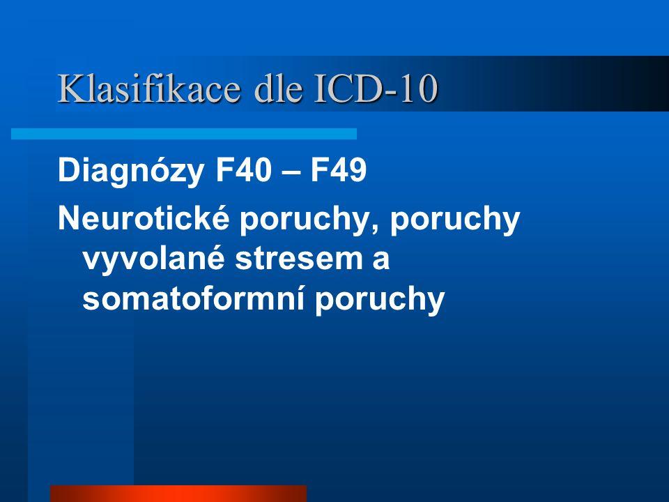 Klasifikace dle ICD-10 Diagnózy F40 – F49