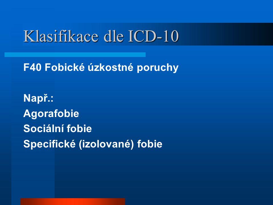 Klasifikace dle ICD-10 F40 Fobické úzkostné poruchy Např.: Agorafobie