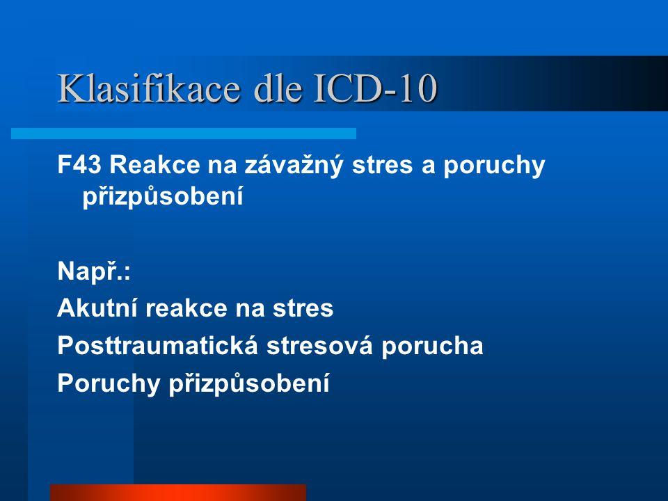 Klasifikace dle ICD-10 F43 Reakce na závažný stres a poruchy přizpůsobení. Např.: Akutní reakce na stres.
