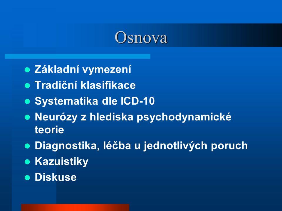 Osnova Základní vymezení Tradiční klasifikace Systematika dle ICD-10