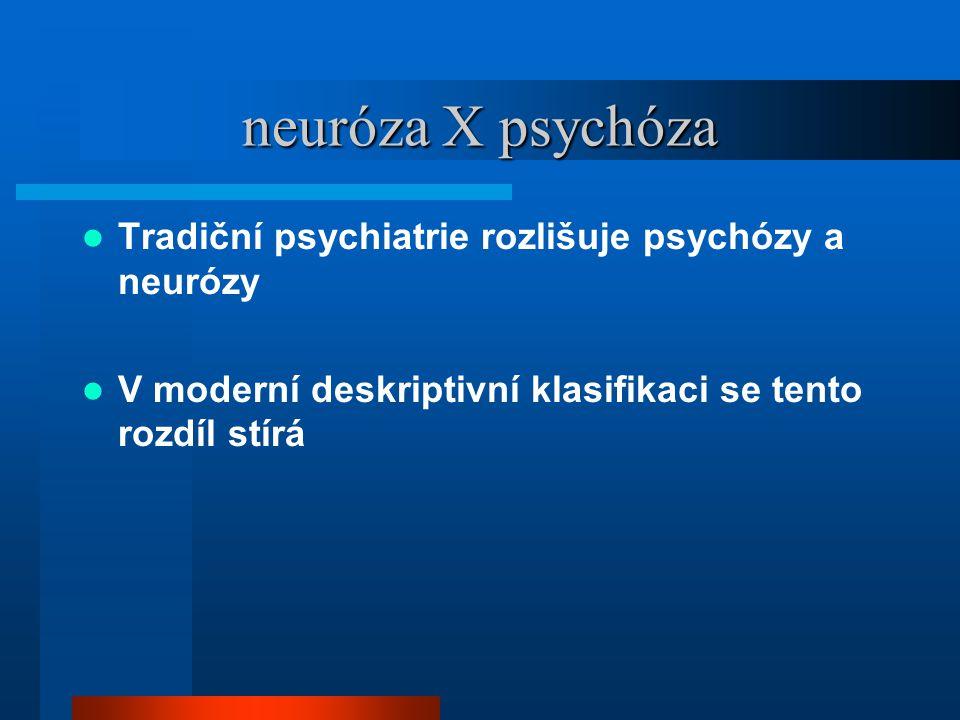 neuróza X psychóza Tradiční psychiatrie rozlišuje psychózy a neurózy