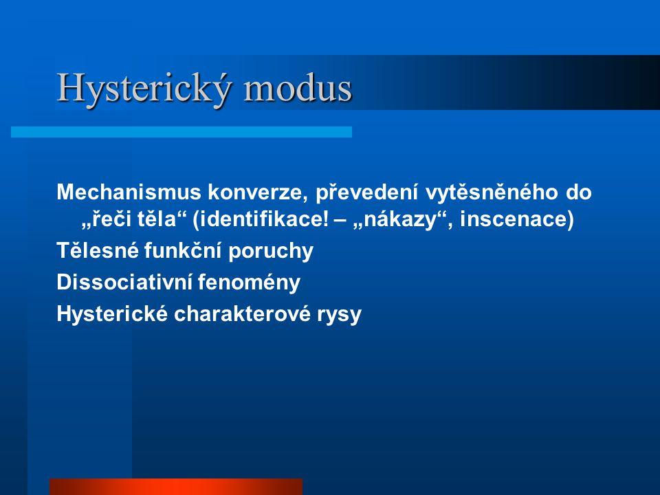 """Hysterický modus Mechanismus konverze, převedení vytěsněného do """"řeči těla (identifikace! – """"nákazy , inscenace)"""