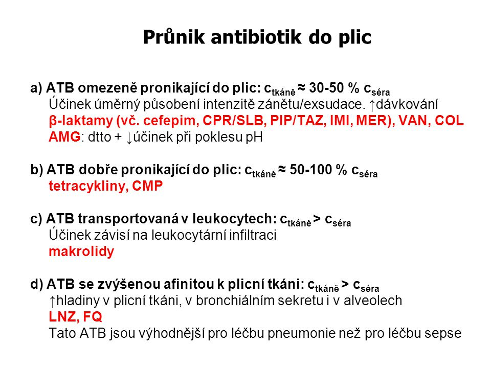 Průnik antibiotik do plic