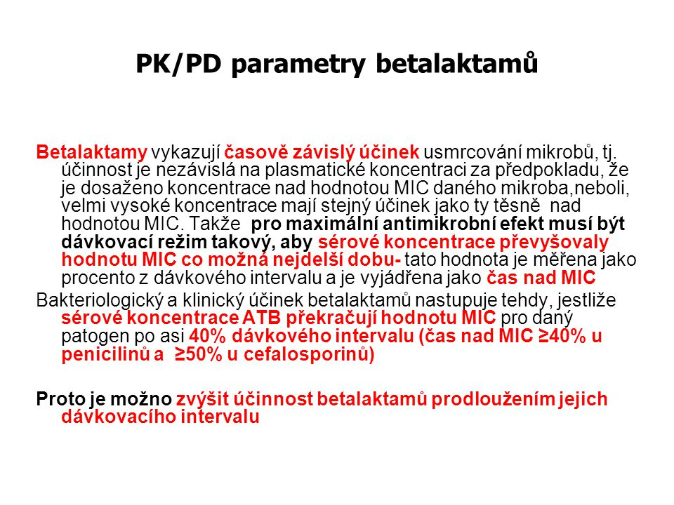 PK/PD parametry betalaktamů