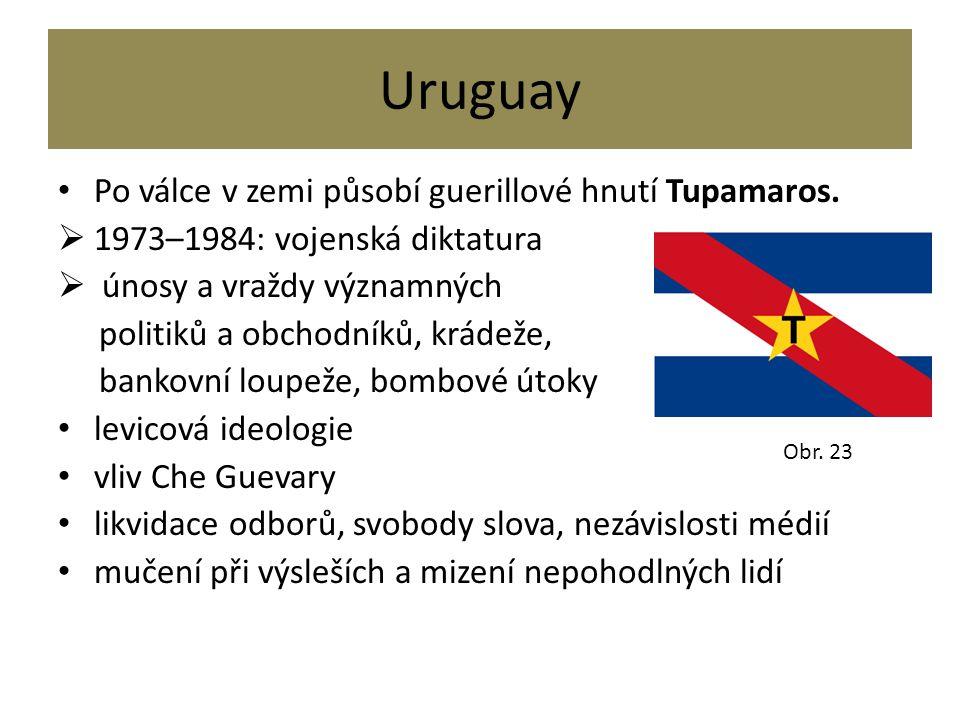 Uruguay Po válce v zemi působí guerillové hnutí Tupamaros.