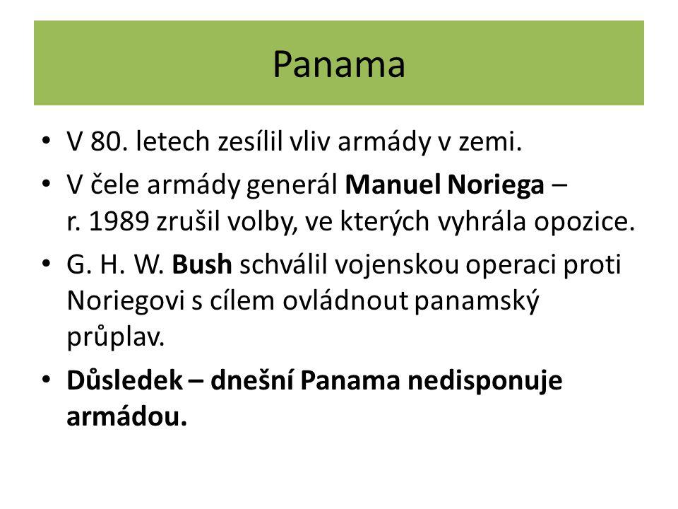 Panama V 80. letech zesílil vliv armády v zemi.