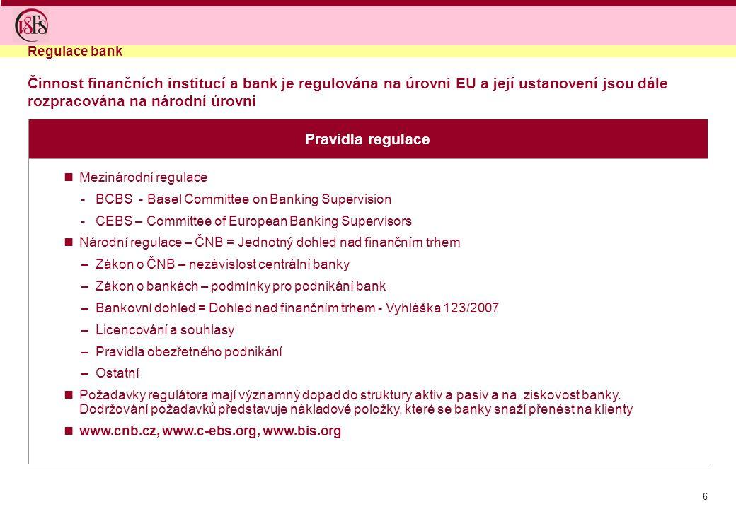 Regulace bank Činnost finančních institucí a bank je regulována na úrovni EU a její ustanovení jsou dále rozpracována na národní úrovni.