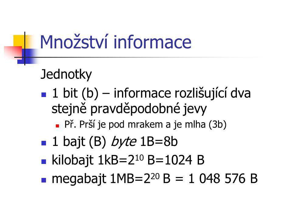 Množství informace Jednotky