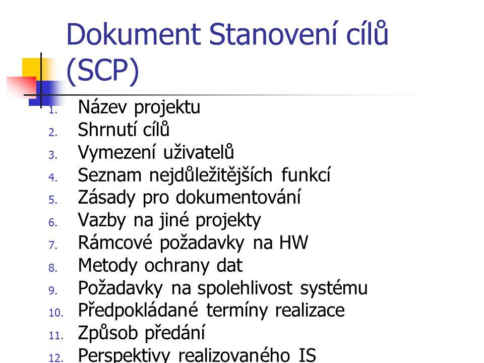 Dokument Stanovení cílů (SCP)