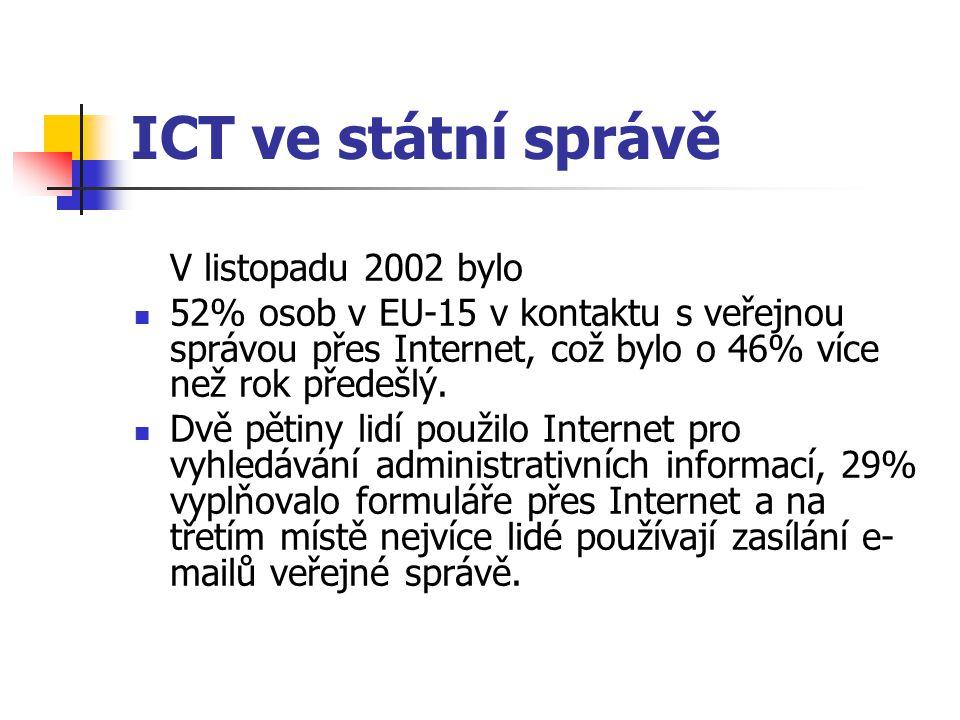 ICT ve státní správě V listopadu 2002 bylo