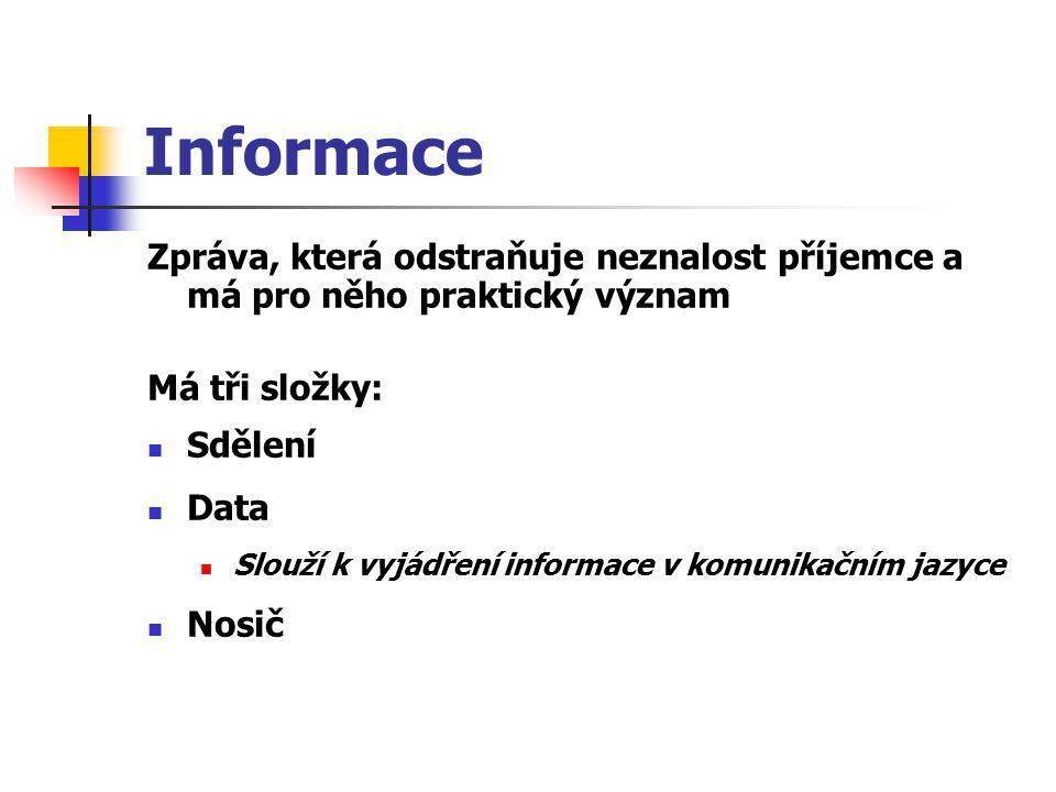 Informace Zpráva, která odstraňuje neznalost příjemce a má pro něho praktický význam. Má tři složky: