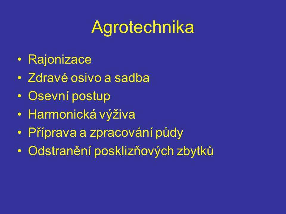 Agrotechnika Rajonizace Zdravé osivo a sadba Osevní postup