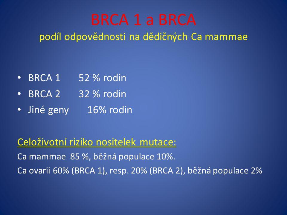 BRCA 1 a BRCA podíl odpovědnosti na dědičných Ca mammae