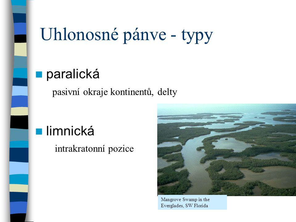 Uhlonosné pánve - typy paralická limnická