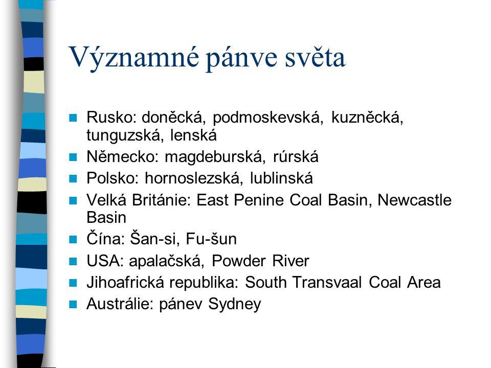 Významné pánve světa Rusko: doněcká, podmoskevská, kuzněcká, tunguzská, lenská. Německo: magdeburská, rúrská.