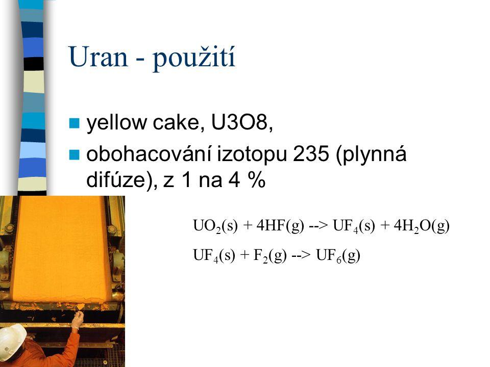 Uran - použití yellow cake, U3O8,