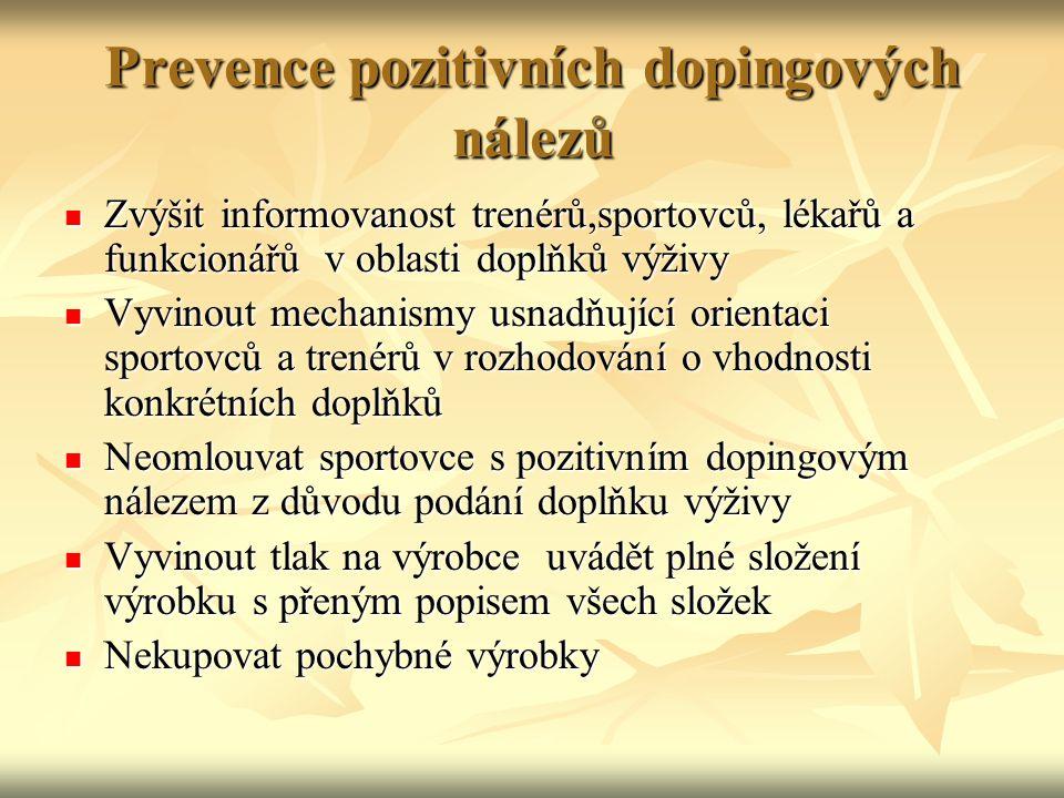 Prevence pozitivních dopingových nálezů