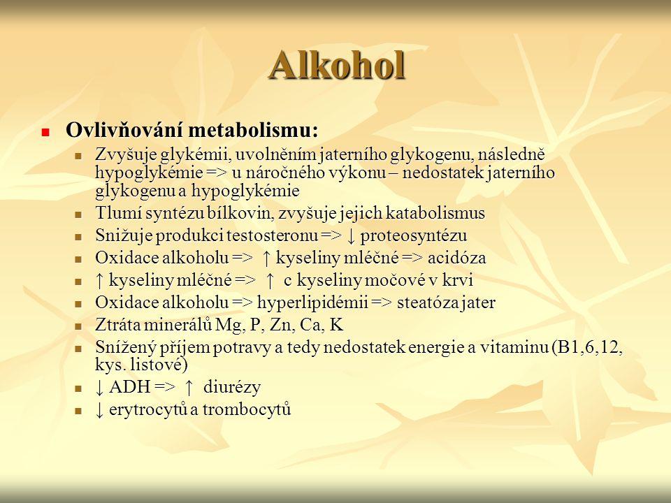Alkohol Ovlivňování metabolismu: