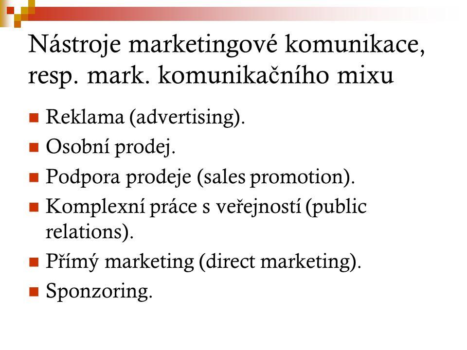 Nástroje marketingové komunikace, resp. mark. komunikačního mixu