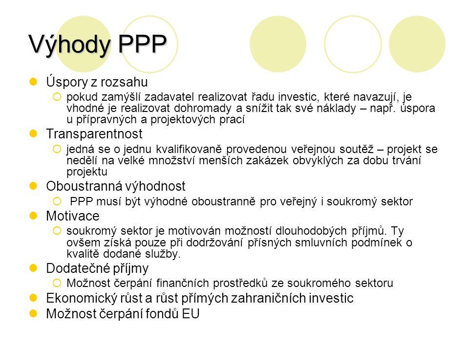 Výhody PPP Úspory z rozsahu Transparentnost Oboustranná výhodnost