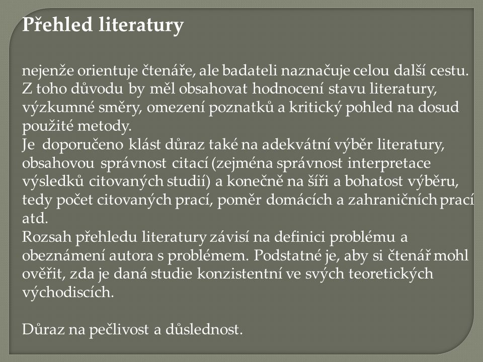 Přehled literatury