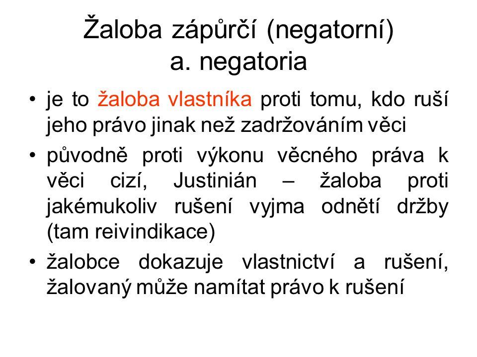 Žaloba zápůrčí (negatorní) a. negatoria