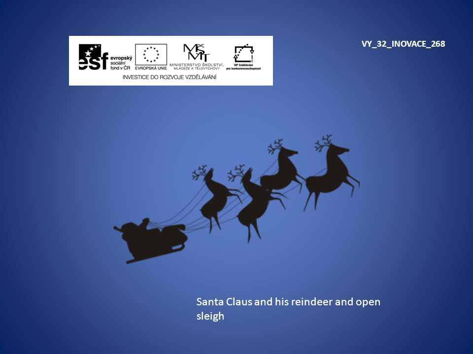 Santa Claus and his reindeer and open sleigh