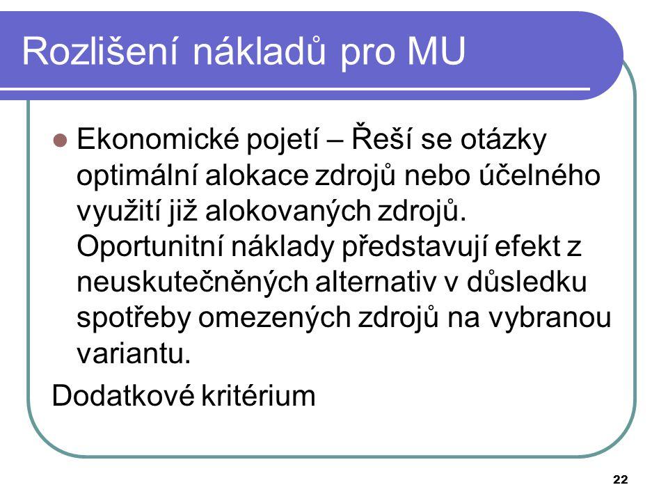 Rozlišení nákladů pro MU