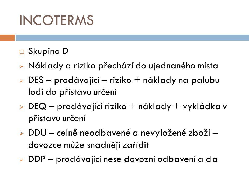 INCOTERMS Skupina D Náklady a riziko přechází do ujednaného místa
