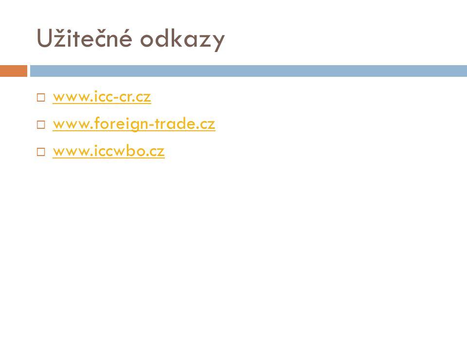Užitečné odkazy www.icc-cr.cz www.foreign-trade.cz www.iccwbo.cz