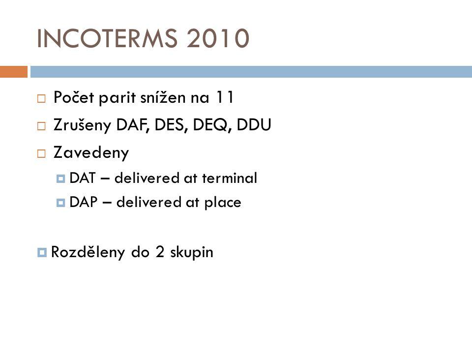 INCOTERMS 2010 Počet parit snížen na 11 Zrušeny DAF, DES, DEQ, DDU