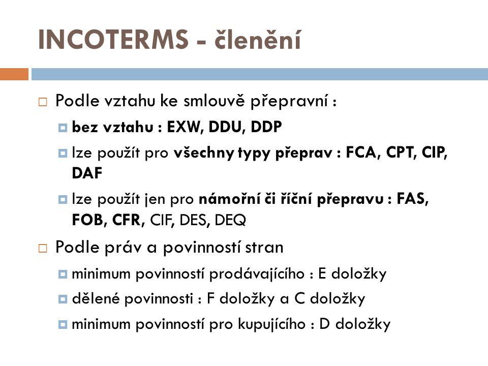 INCOTERMS - členění Podle vztahu ke smlouvě přepravní :