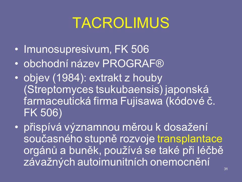 TACROLIMUS Imunosupresivum, FK 506 obchodní název PROGRAF®